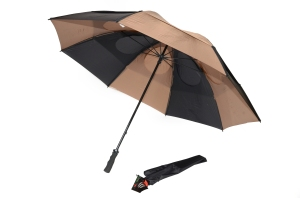 "Gustbuster Golf umbrella 62"" Black Tan"